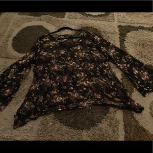 Floral Long Sleeve Shirt With Bell Bottom Sleeves